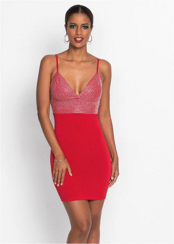 Wieczorowa sukienka na ramiączkach, na imprezę czerwona