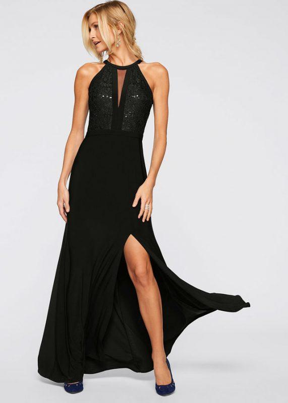 Czarna sukienka wieczorowa z koronką i cekinami