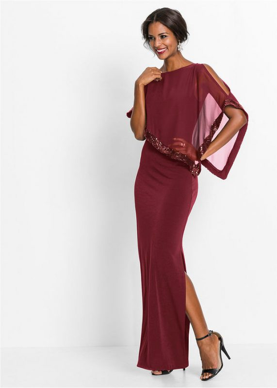 Bordowa długa suknia wieczorowa z narzutką