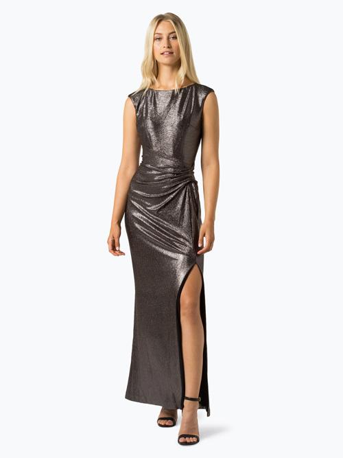 Długa suknia sylwestrowa ciemno srebrna