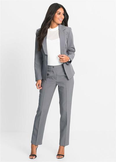 Elegancki komplet damski spodnie i żakiet szary