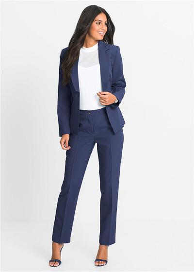 Elegancki komplet damski spodnie i żakiet granatowy