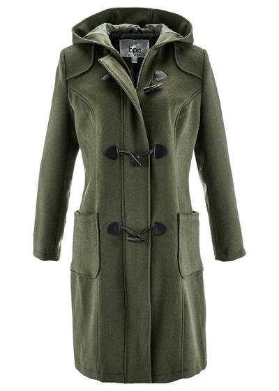 Ciemnooliwkowy płaszcz wełniany budrysówka z kapturem