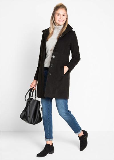 Ciepły płaszcz zimowy damski ze stójką czarny