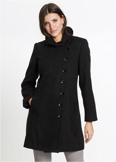 Czarny płaszcz zimowy zapinany na guziki