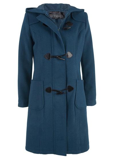 Granatowy płaszcz wełniany budrysówka z kapturem