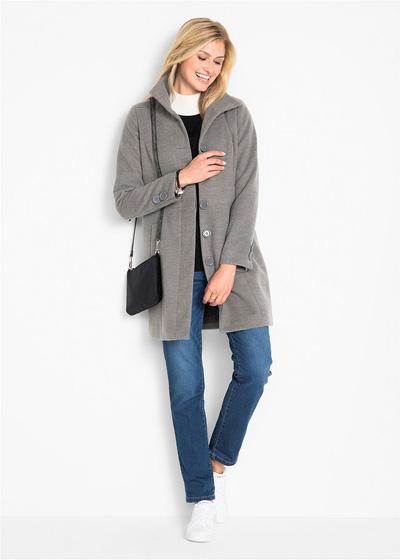 Ciepły płaszcz zimowy damski ze stójką szary