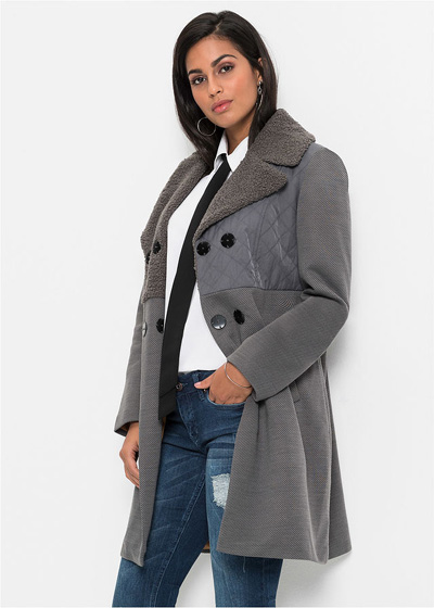 Szary płaszcz zimowy damski
