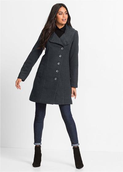 Szary płaszcz zimowy zapinany na guziki