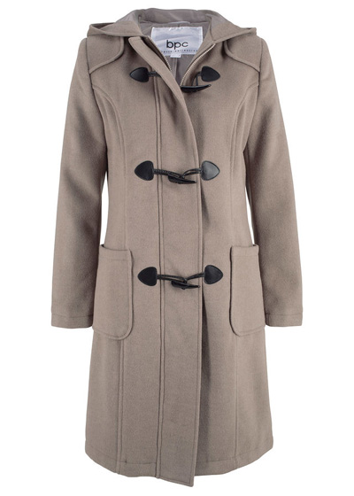 Szaro-brązowy płaszcz wełniany budrysówka z kapturem