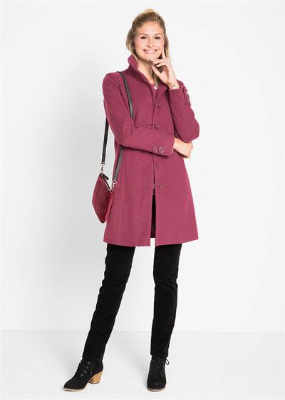 Ciepły płaszcz zimowy damski ze stójką purpurowy