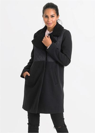 Czarny płaszcz zimowy damski