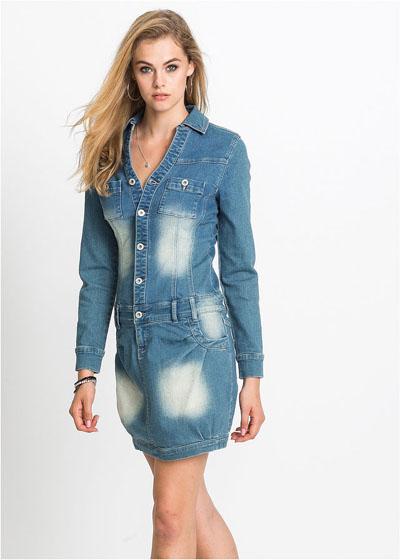 Sukienka dżinsowa z długim rękawem niebieska