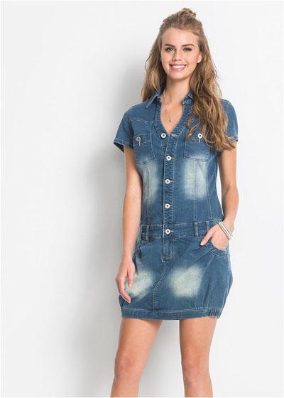 Sukienka jeansowa z kieszeniami krótki rękaw