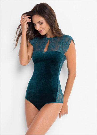 Body aksamitne damskie niebieskozielone