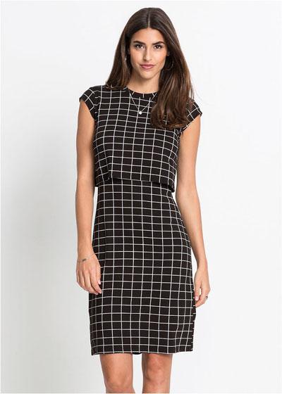 Elegancka sukienka w kratę czarno biała