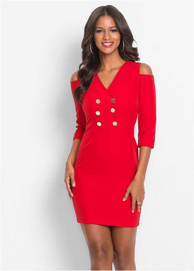 Elegancka czerwona sukienka z wycięciami na ramionach