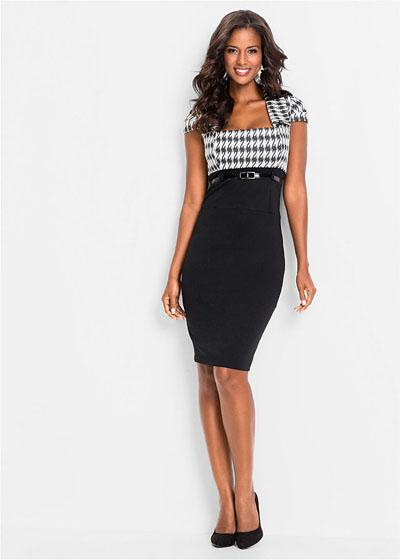Elegancka sukienka biznesowa z paskiem