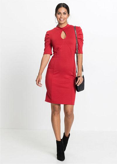 Elegancka sukienka z wycięciami czerwona