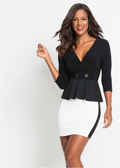 Elegancka sukienka z baskinką biało-czarna