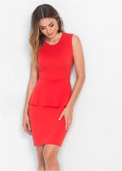 Elegancka sukienka z baskinką czerwona