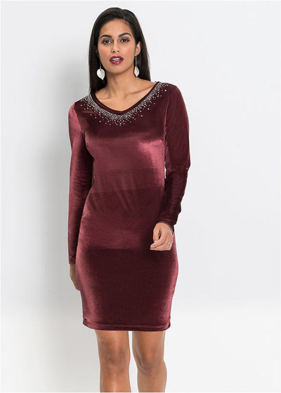 Sukienka aksamitna z aplikacją z kamieni bordowa
