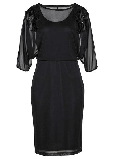 Sukienka siatkowa z cekinami czarna