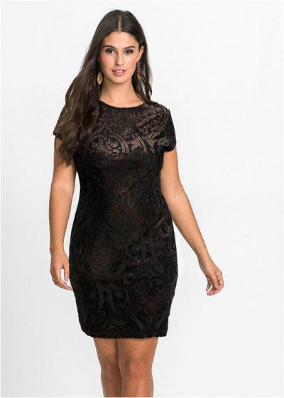 Sukienka plus size z brokatowym nadrukiem