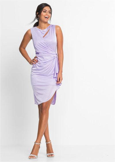 Asymetryczna sukienka z wycięciami lila