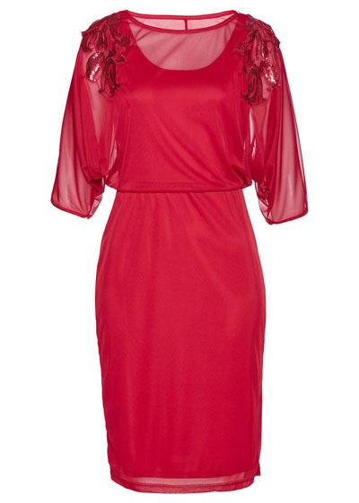 Sukienka siatkowa z cekinami czerwona