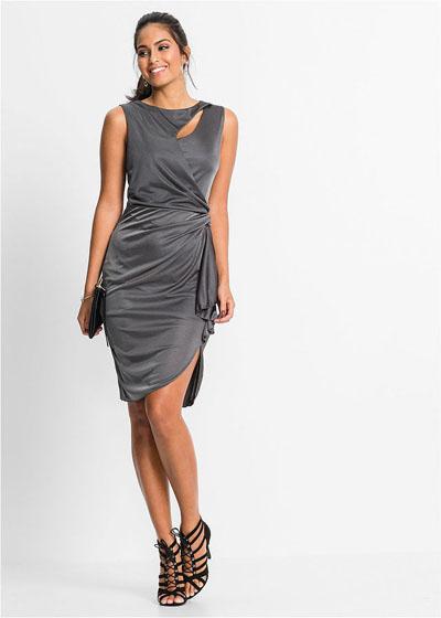 Asymetryczna sukienka z wycięciami srebrna