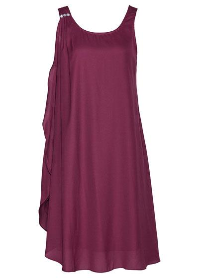Sukienka z kryształami Swarovskiego plus size jeżynowa