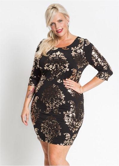 Sukienka plus size z cekinami czarna