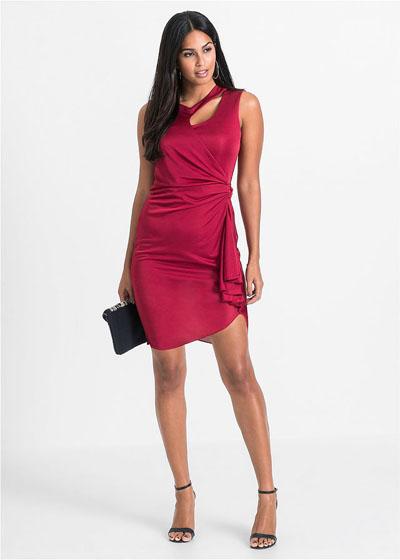 Asymetryczna sukienka z wycięciami czerwona