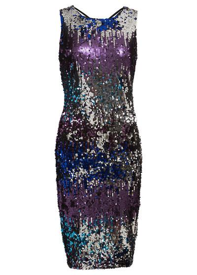 Cekinowa sukienka na imprezę i sylwestra odcienie niebieskiego