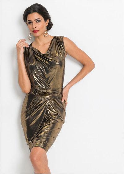 Błyszcząca złota sukienka na sylwestra