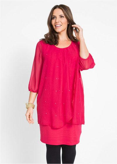 Wyszczuplająca sukienka z szyfonem różowa