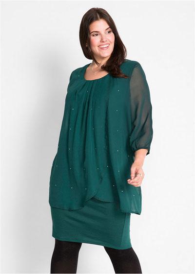 Wyszczuplająca sukienka z szyfonem zielona