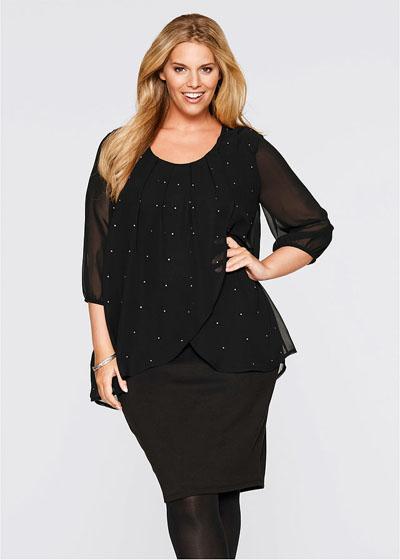 Wyszczuplająca sukienka z szyfonem czarna