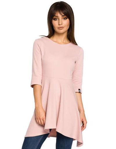 Asymertyczna tunika bawełniana różowa