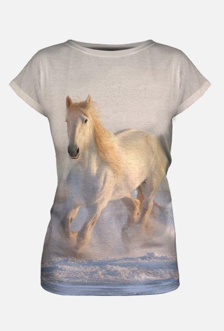Koszulka damska z nadrukiem Full Print biały koń