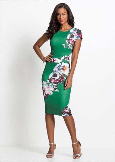 Elegancka sukienka ołówkowa w kwiaty zielona