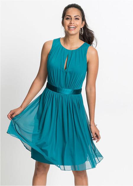Taliowana sukienka z wycięciem w biuście, jasnozielona