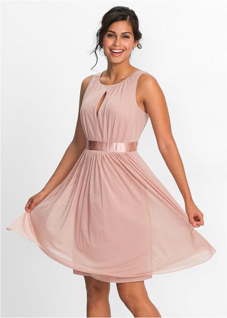 Taliowana sukienka z wycięciem w biuście, jasnoróżowa