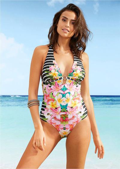 Wyszczuplający strój kąpielowy kolorowy jednoczęściowy