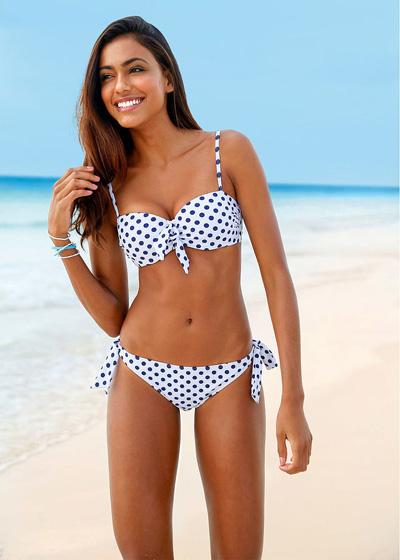 Bikini na fiszbinach - 2 części - białe w kropki