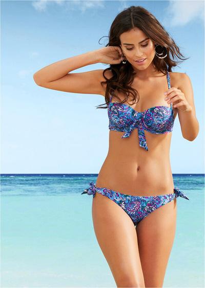 Dwuczęściowy strój kąpielowy Bikini na fiszbinach niebieskie
