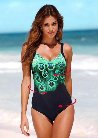 Wyszczuplający kostium kąpielowy pawi wzór