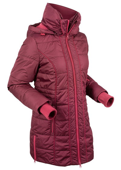 Ciepła zimowa kurtka damska długa sportowa bordowa