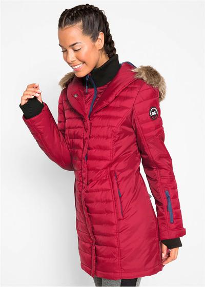 Długa ciepła kurtka outdoorowa pikowana czerwona